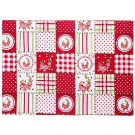 Country tányéralátét piros patchwork mintás, 33 x 45 cm