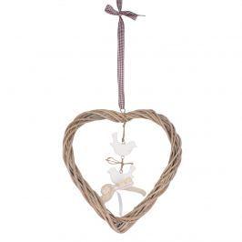 Rattan szív madarakkal függeszthető dekor elem, barna
