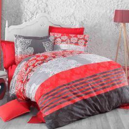 Kvalitex Delux Stripes pamut ágyneműhuzat piros