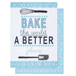 Bake the world a better place konyharuha, 50 x 70 cm, 2 db-os szett