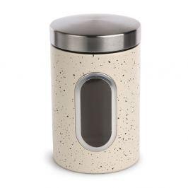 Bézs márvány élelmiszer tartó doboz ablakkal, átm. 11 cm