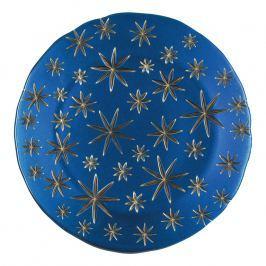 Nachtmann Golden Stars kristály dísztányér/tálalótányér, kék/arany