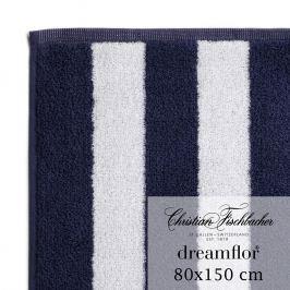 Christian Fischbacher Dreamflor® fürdőtörölköző, 80 x 150 cm, fehér / éjkék csíkos, Fischbacher