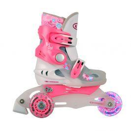 WORKER TriGo Skate LED XS 26-29 - rózsaszín