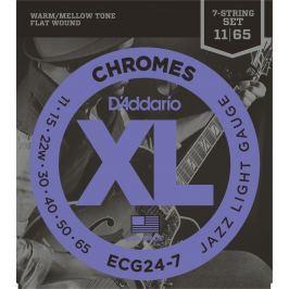 D'Addario ECG24 7 Chromes Flat Wound Jazz Light 7 strings