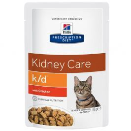 Hill's Prescription Diet k/d Kidney Care csirke/lazac macskatáp - 12 x 85 g (lazac)
