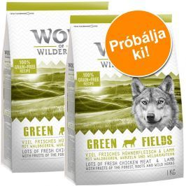 2x1 kg Wolf of Wilderness Adult Green Fields kutyatáp próbacsomag