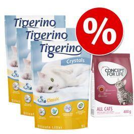 Próbacsomag: 3 x 5 l Tigerino alom + 400 g Concept for Life - Tigerino + Maine Coon Adult