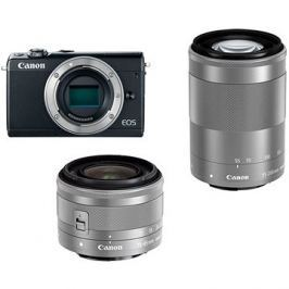 Canon EOS M100 šedý + M15-45mm stříbrný + M55-200mm stříbrný
