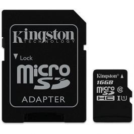 Kingston Canvas Select MicroSDHC 16GB UHS-I U1 + SD adaptér