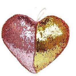 Polštářek ve tvaru srdce s flitry růžový