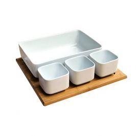 Toro Set 4ks salátový + bambusový podnos, keramika